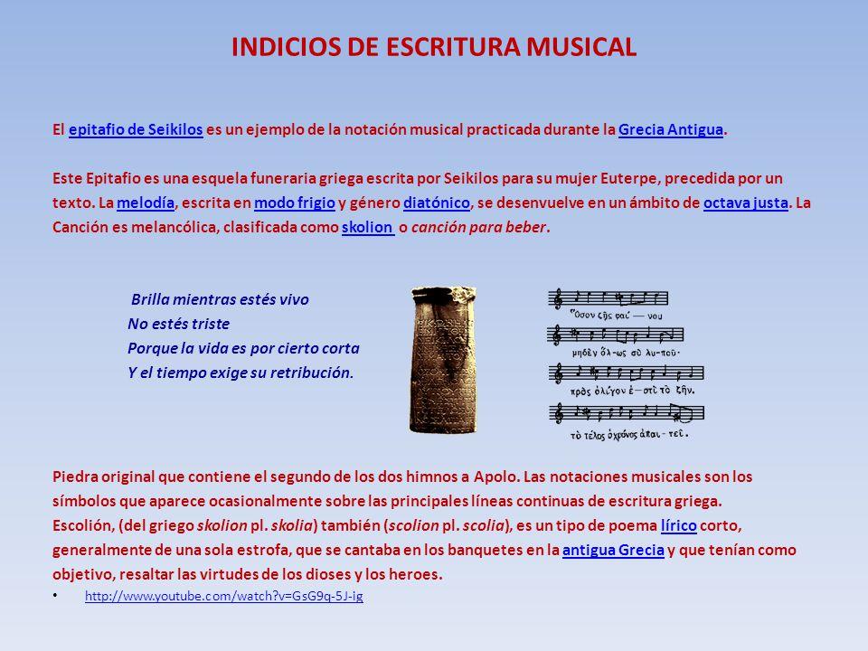 INDICIOS DE ESCRITURA MUSICAL