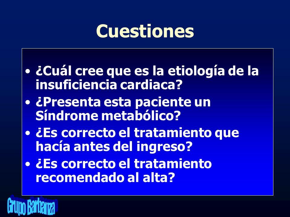 Cuestiones ¿Cuál cree que es la etiología de la insuficiencia cardiaca ¿Presenta esta paciente un Síndrome metabólico