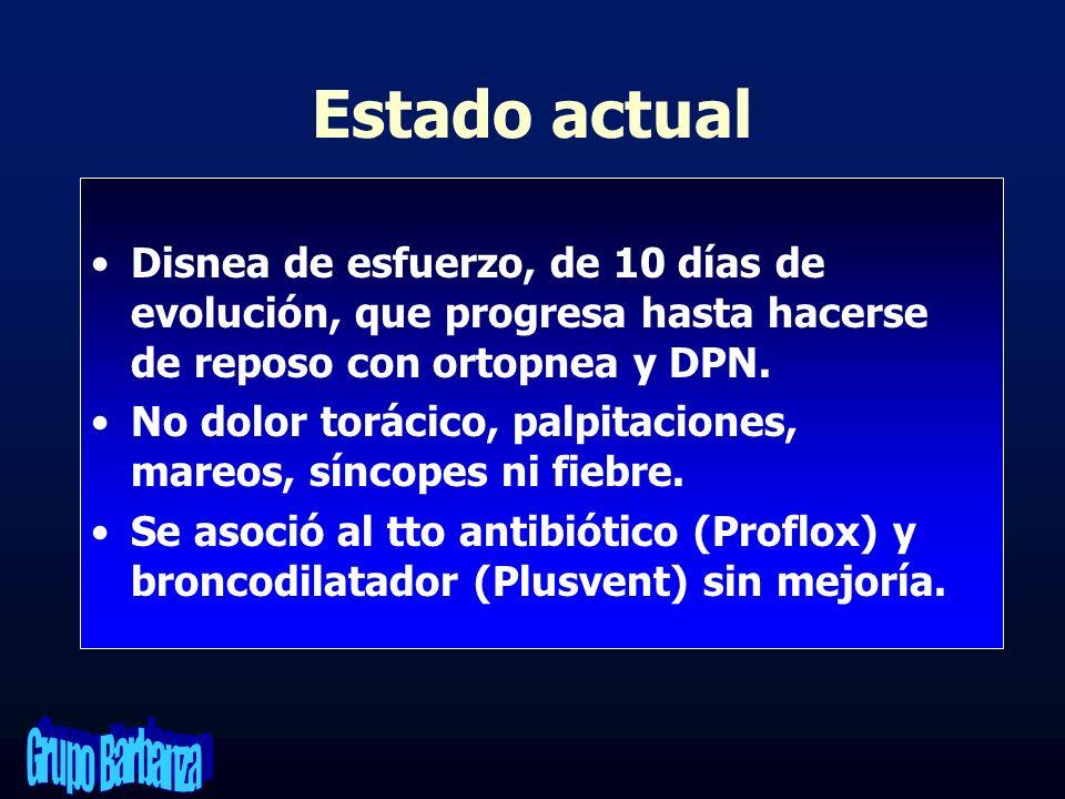 Estado actual Disnea de esfuerzo, de 10 días de evolución, que progresa hasta hacerse de reposo con ortopnea y DPN.