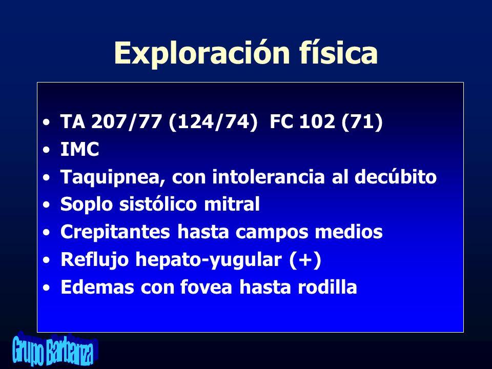 Exploración física TA 207/77 (124/74) FC 102 (71) IMC
