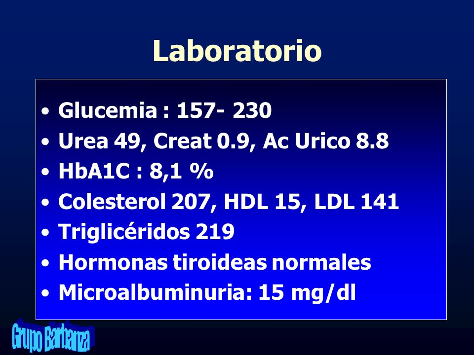 Laboratorio Glucemia : 157- 230 Urea 49, Creat 0.9, Ac Urico 8.8