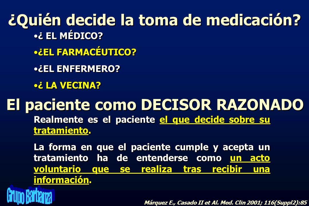 ¿Quién decide la toma de medicación El paciente como DECISOR RAZONADO