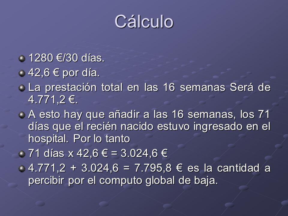 Cálculo 1280 €/30 días. 42,6 € por día.