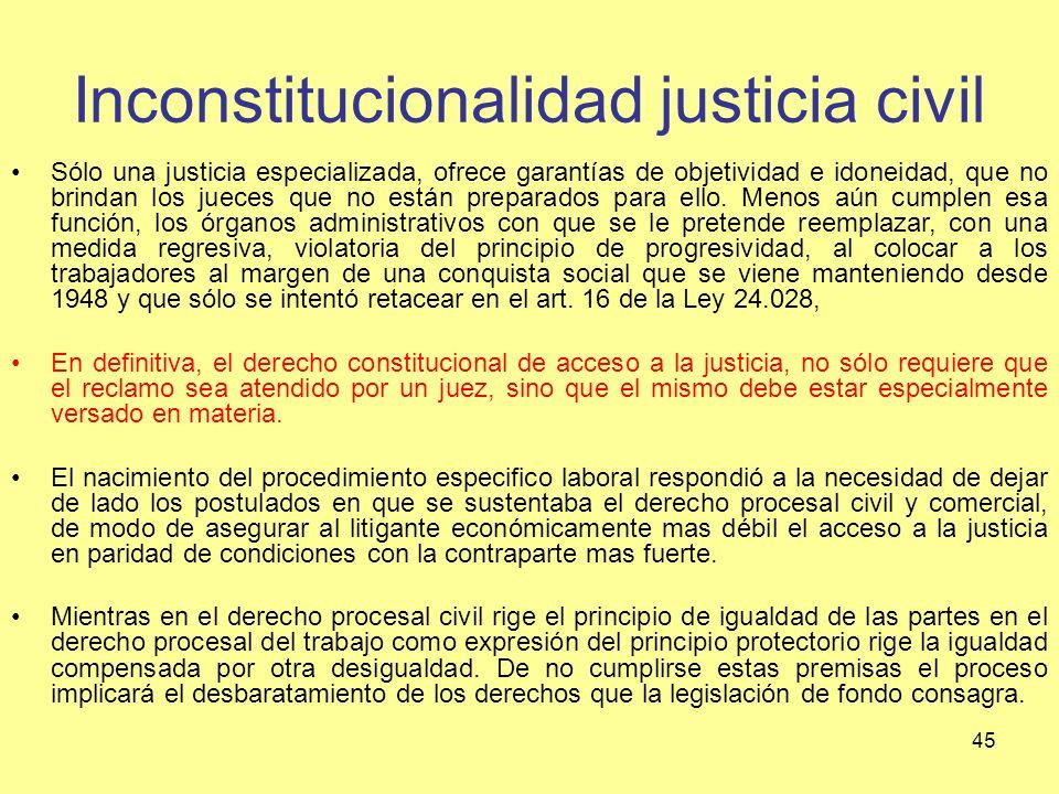 Inconstitucionalidad justicia civil