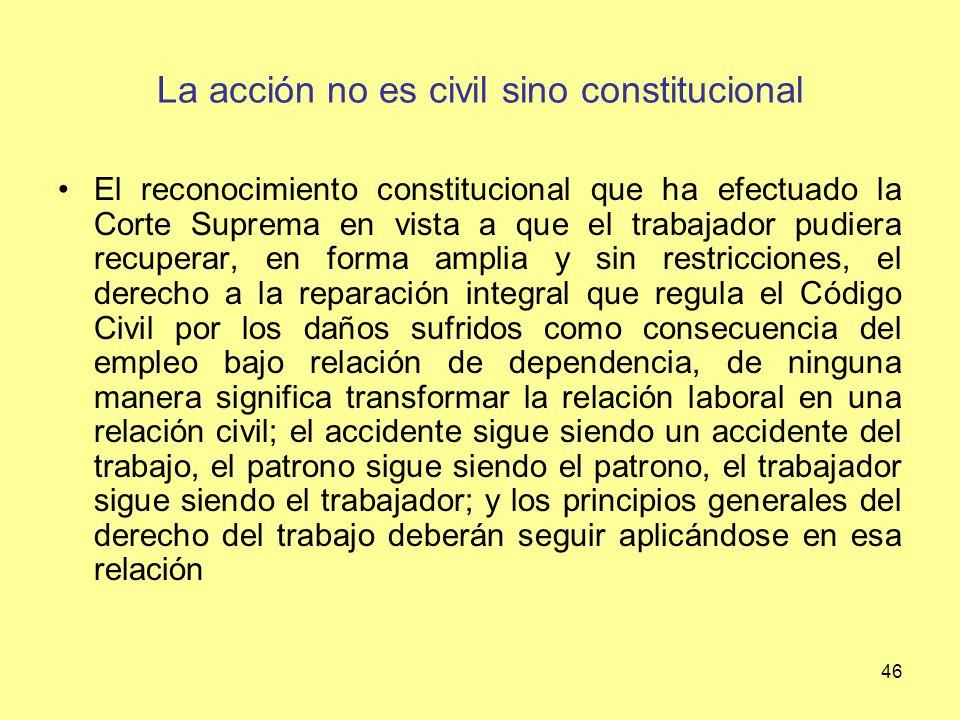 La acción no es civil sino constitucional