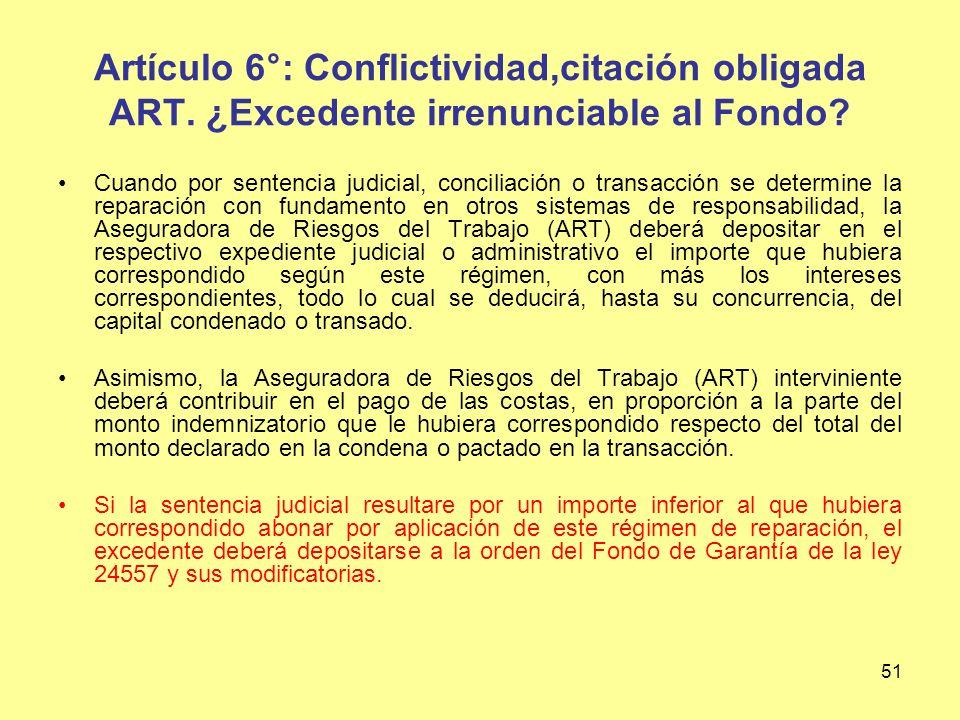 Artículo 6°: Conflictividad,citación obligada ART
