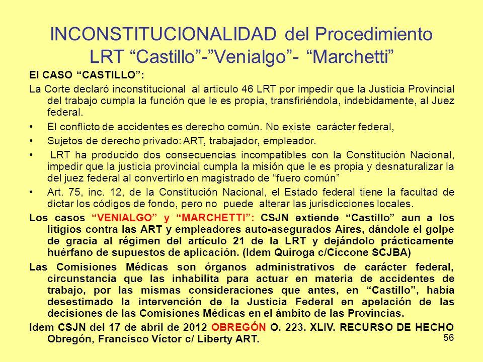 INCONSTITUCIONALIDAD del Procedimiento LRT Castillo - Venialgo - Marchetti