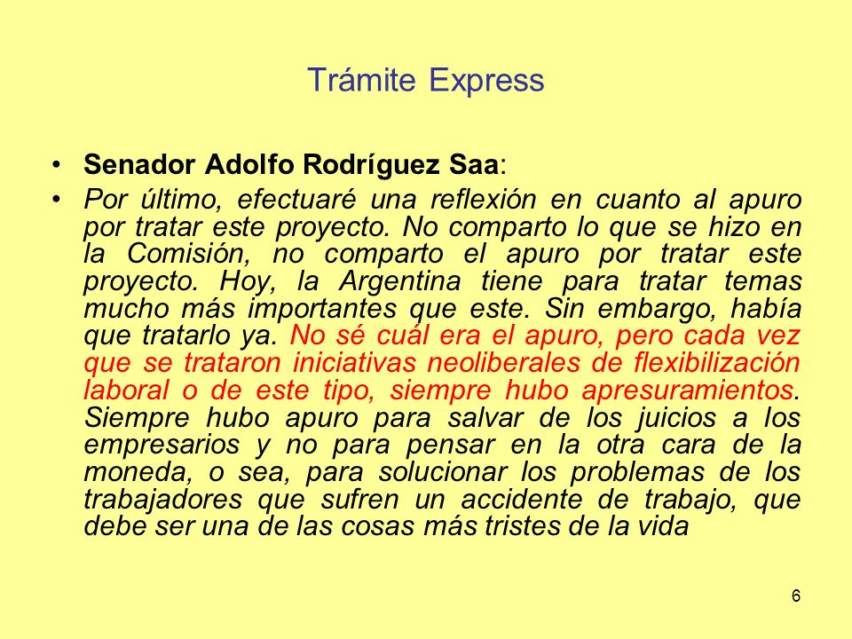 Trámite Express Senador Adolfo Rodríguez Saa:
