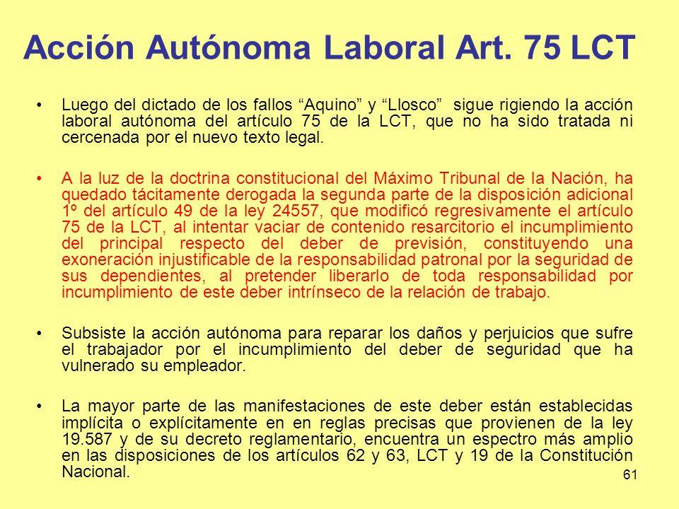 Acción Autónoma Laboral Art. 75 LCT