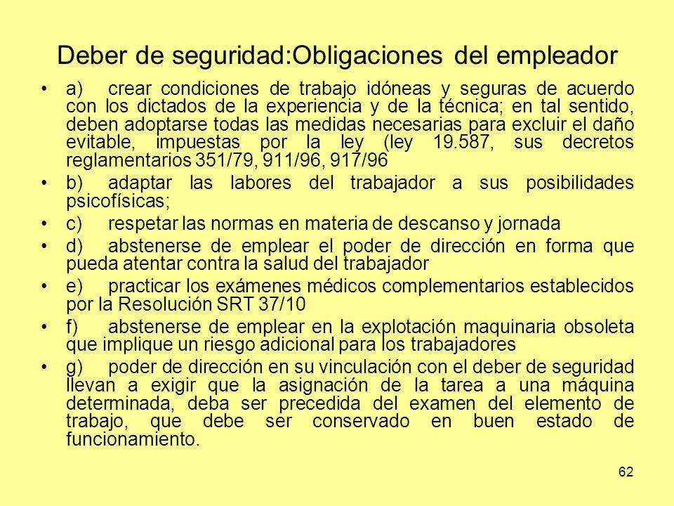 Deber de seguridad:Obligaciones del empleador