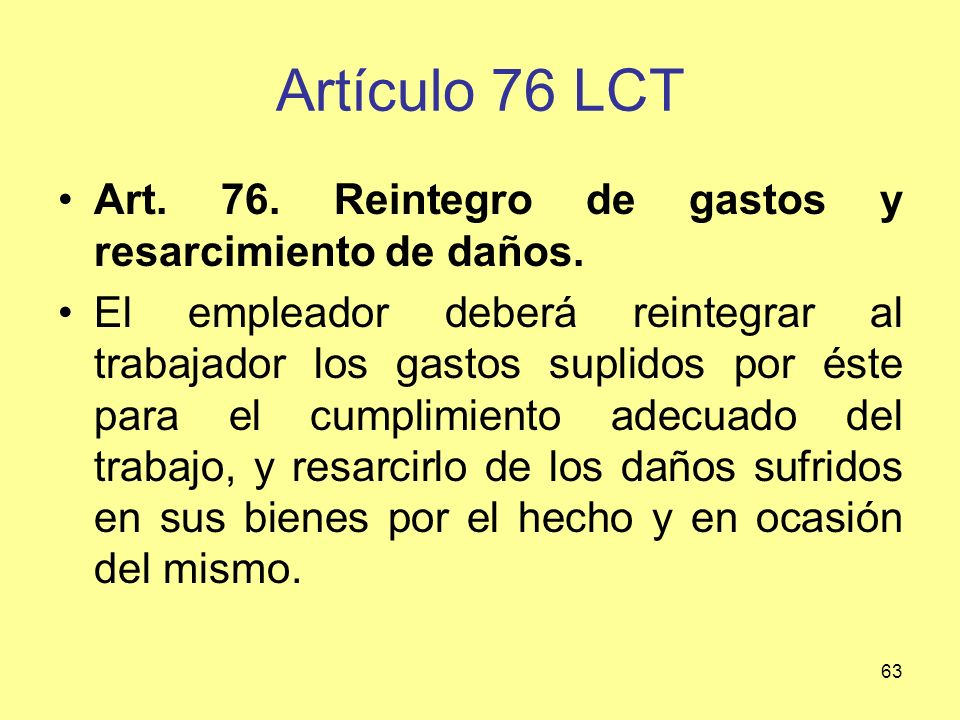 Artículo 76 LCT Art. 76. Reintegro de gastos y resarcimiento de daños.