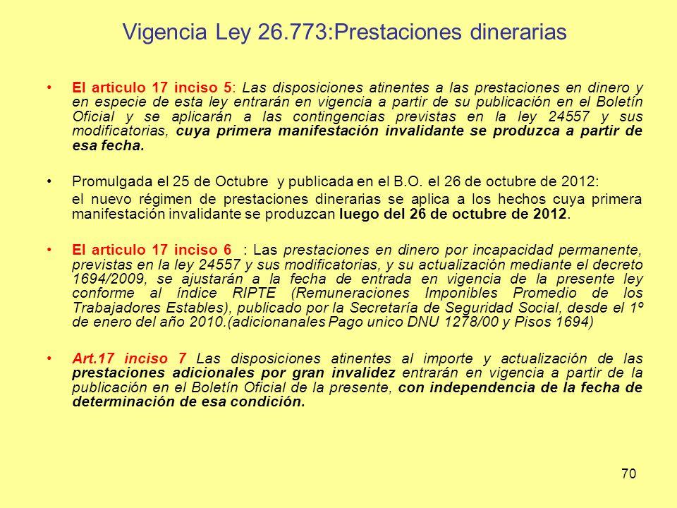 Vigencia Ley 26.773:Prestaciones dinerarias