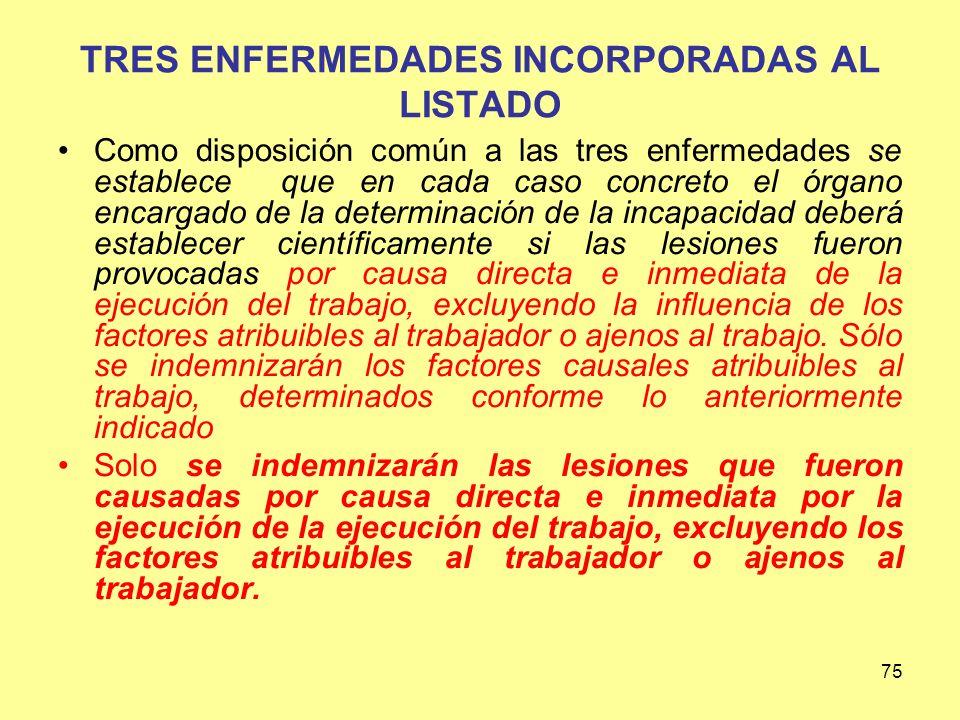 TRES ENFERMEDADES INCORPORADAS AL LISTADO