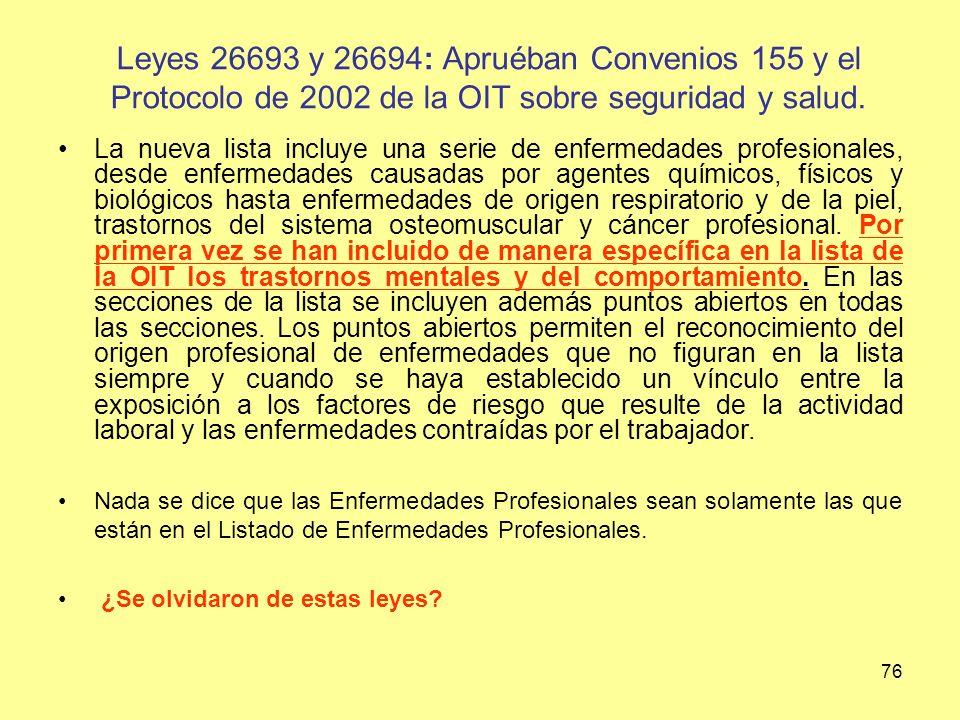 Leyes 26693 y 26694: Apruéban Convenios 155 y el Protocolo de 2002 de la OIT sobre seguridad y salud.