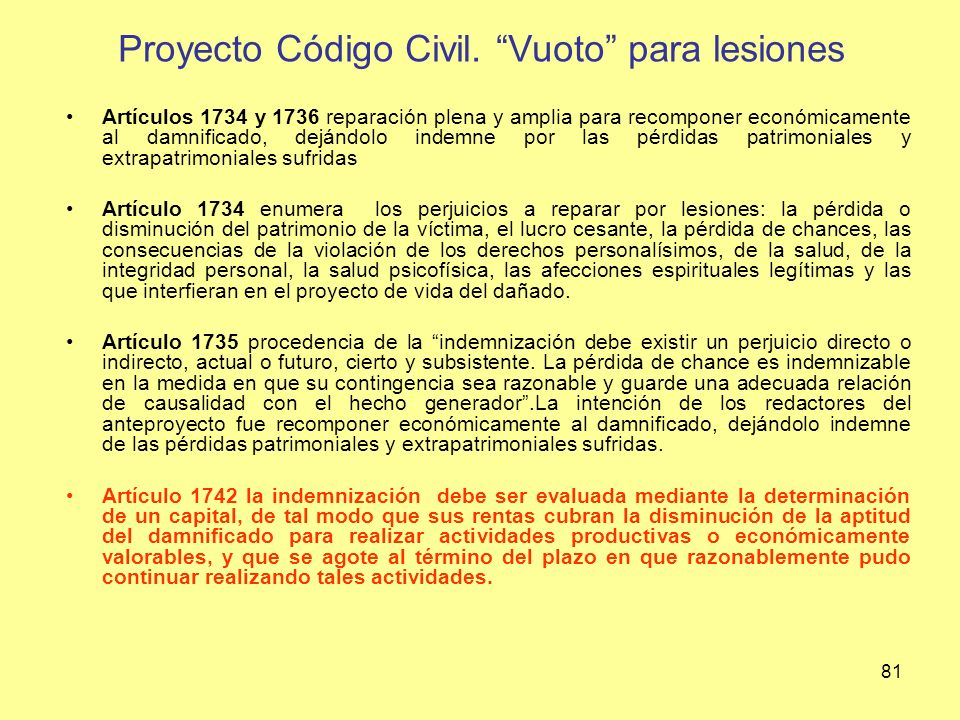 Proyecto Código Civil. Vuoto para lesiones