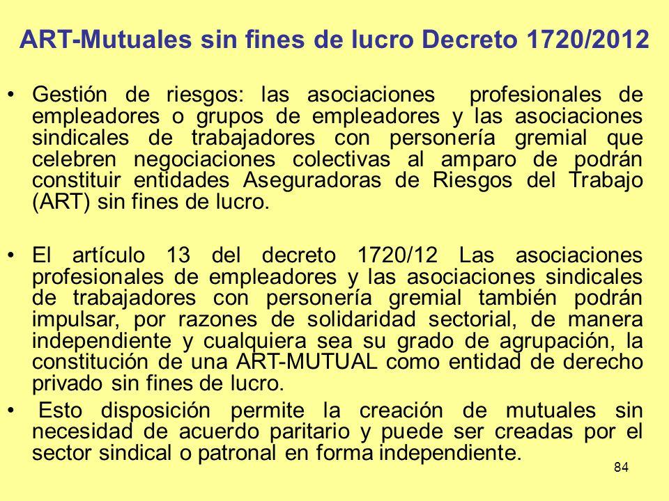 ART-Mutuales sin fines de lucro Decreto 1720/2012