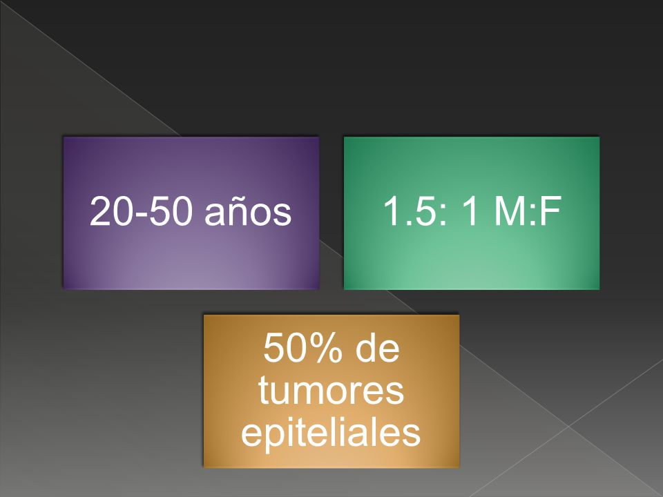 50% de tumores epiteliales