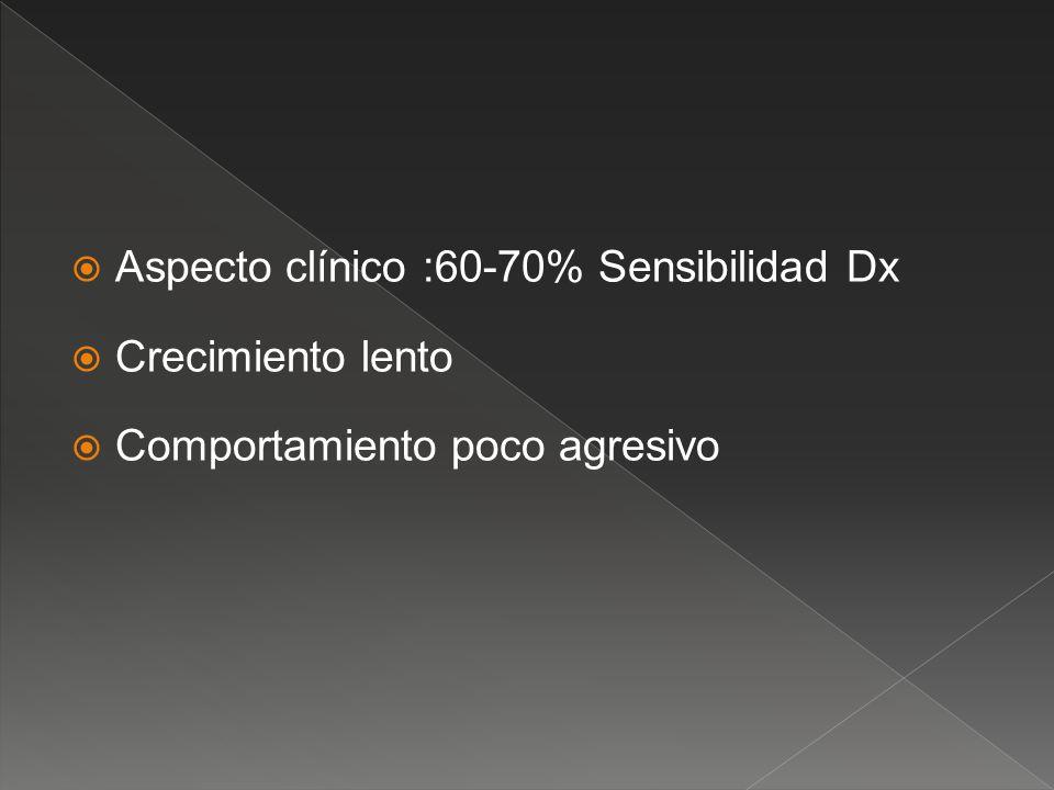 Aspecto clínico :60-70% Sensibilidad Dx