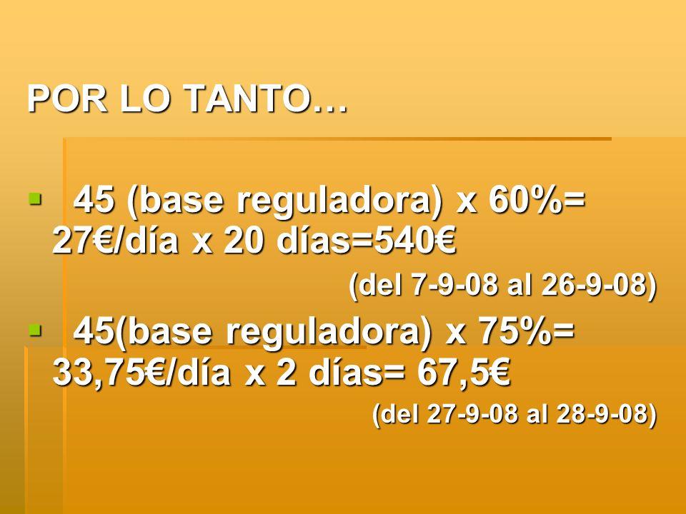 45 (base reguladora) x 60%= 27€/día x 20 días=540€