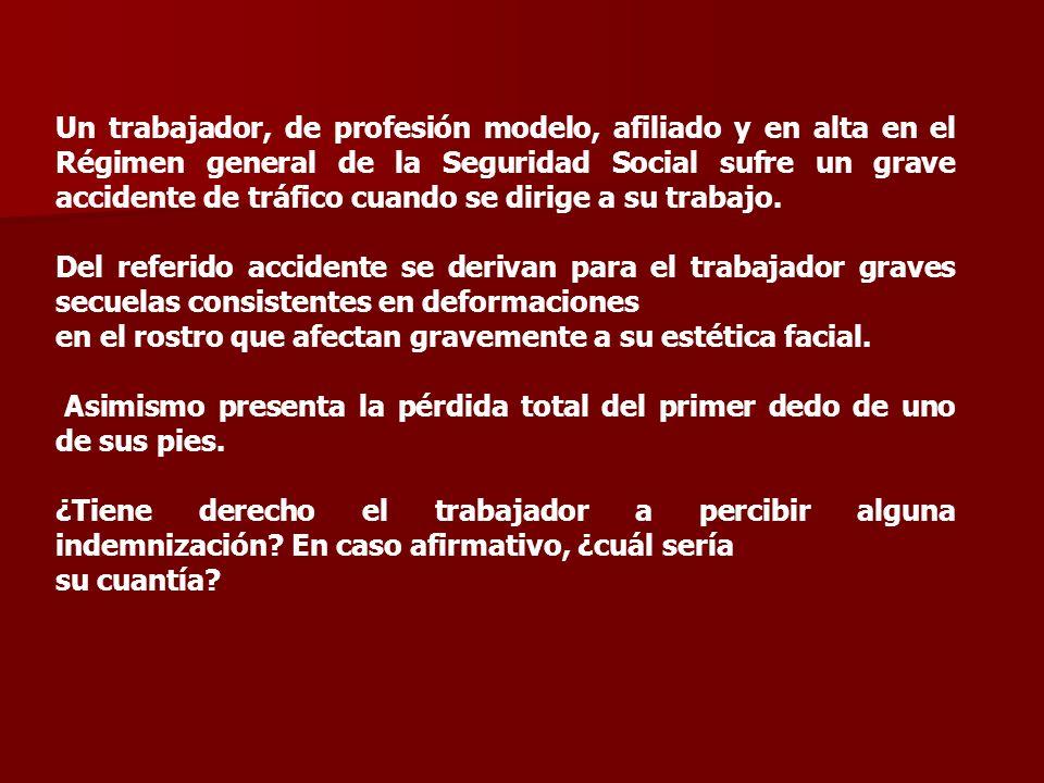 Un trabajador, de profesión modelo, afiliado y en alta en el Régimen general de la Seguridad Social sufre un grave accidente de tráfico cuando se dirige a su trabajo.