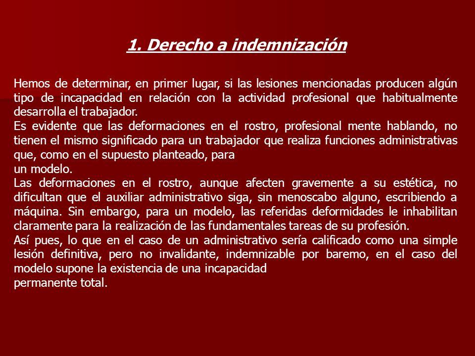 1. Derecho a indemnización