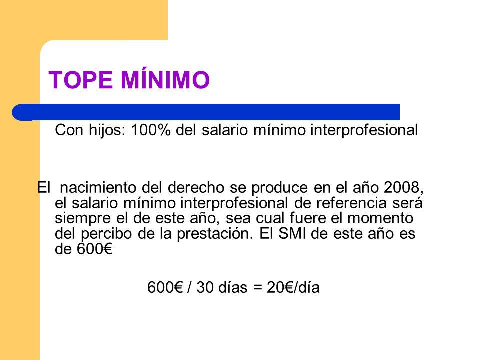 TOPE MÍNIMO Con hijos: 100% del salario mínimo interprofesional.