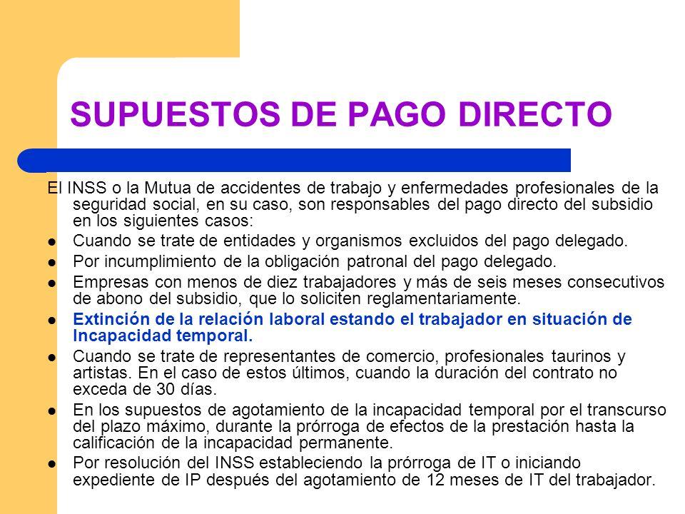 SUPUESTOS DE PAGO DIRECTO