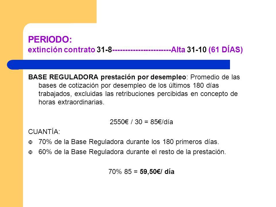 PERIODO: extinción contrato 31-8-----------------------Alta 31-10 (61 DÍAS)