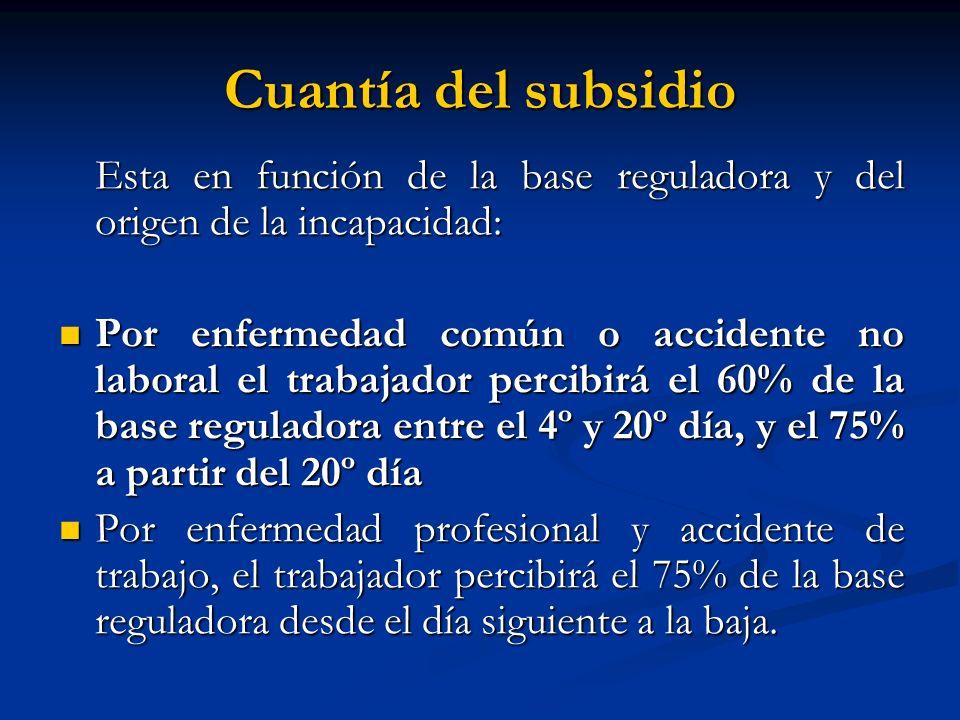 Cuantía del subsidioEsta en función de la base reguladora y del origen de la incapacidad: