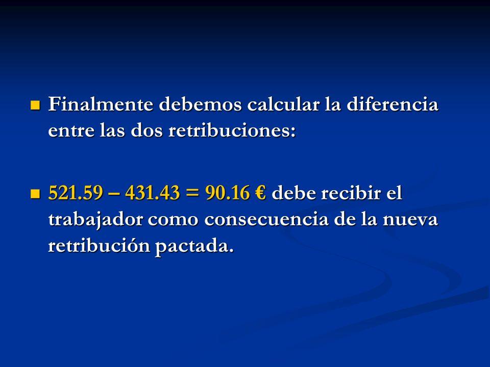 Finalmente debemos calcular la diferencia entre las dos retribuciones: