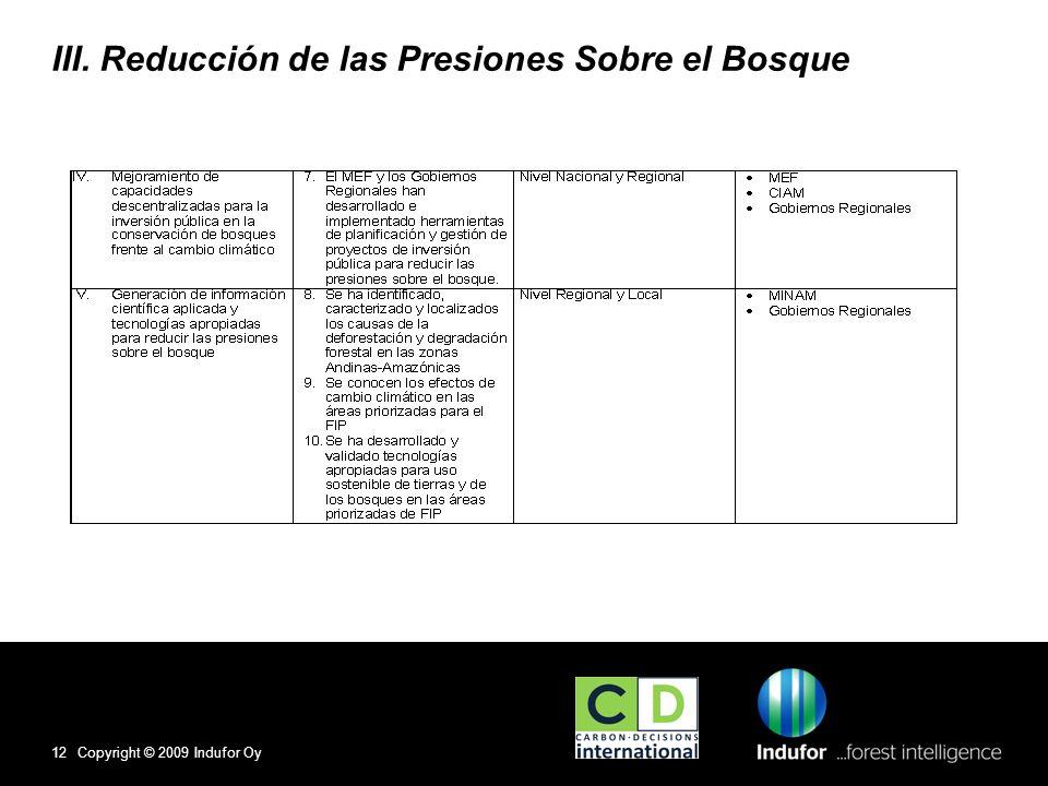 III. Reducción de las Presiones Sobre el Bosque