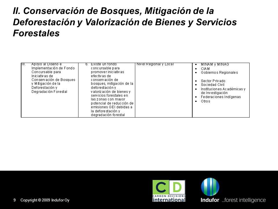 II. Conservación de Bosques, Mitigación de la Deforestación y Valorización de Bienes y Servicios Forestales