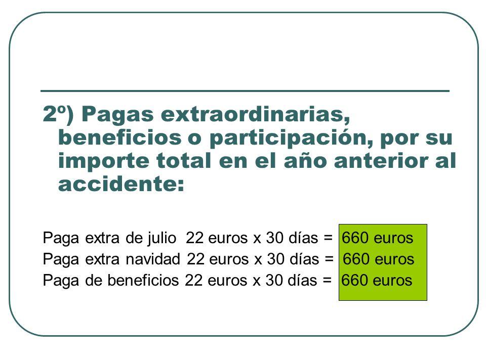 2º) Pagas extraordinarias, beneficios o participación, por su importe total en el año anterior al accidente: