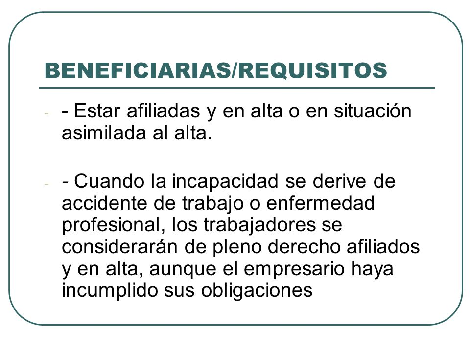 BENEFICIARIAS/REQUISITOS