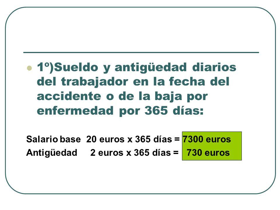 1º)Sueldo y antigüedad diarios del trabajador en la fecha del accidente o de la baja por enfermedad por 365 días: