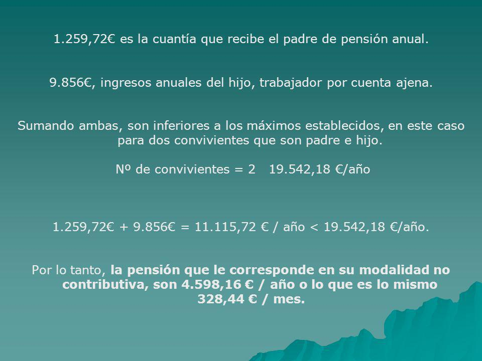 1.259,72€ es la cuantía que recibe el padre de pensión anual.