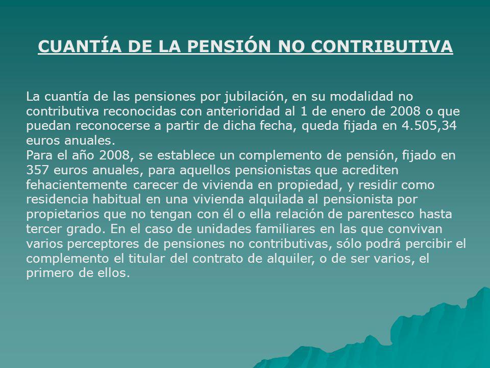 CUANTÍA DE LA PENSIÓN NO CONTRIBUTIVA