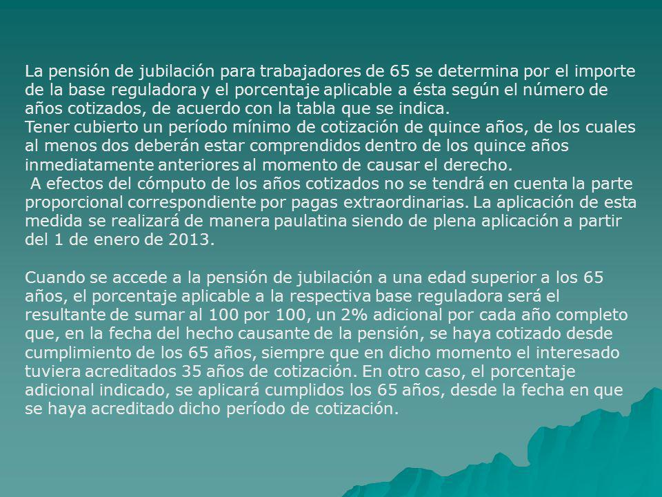 La pensión de jubilación para trabajadores de 65 se determina por el importe de la base reguladora y el porcentaje aplicable a ésta según el número de años cotizados, de acuerdo con la tabla que se indica.