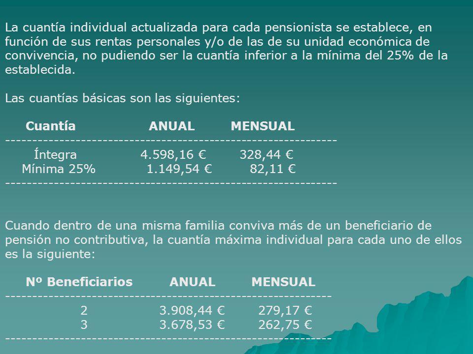 La cuantía individual actualizada para cada pensionista se establece, en función de sus rentas personales y/o de las de su unidad económica de convivencia, no pudiendo ser la cuantía inferior a la mínima del 25% de la establecida. Las cuantías básicas son las siguientes: