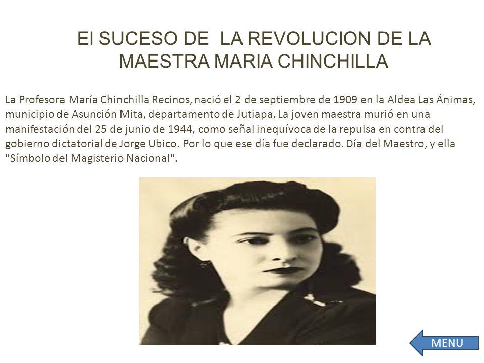 El SUCESO DE LA REVOLUCION DE LA MAESTRA MARIA CHINCHILLA