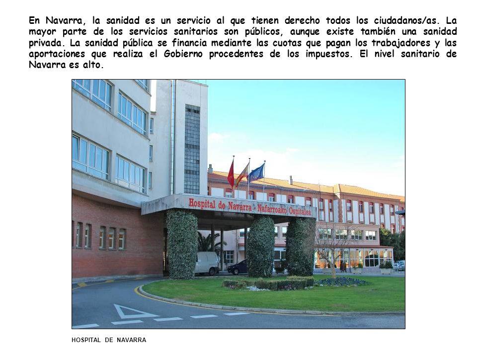 En Navarra, la sanidad es un servicio al que tienen derecho todos los ciudadanos/as. La mayor parte de los servicios sanitarios son públicos, aunque existe también una sanidad privada. La sanidad pública se financia mediante las cuotas que pagan los trabajadores y las aportaciones que realiza el Gobierno procedentes de los impuestos. El nivel sanitario de Navarra es alto.