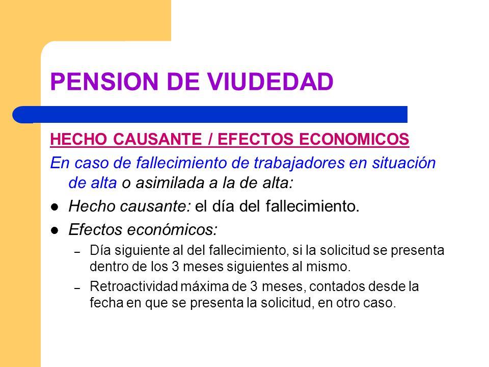 PENSION DE VIUDEDAD HECHO CAUSANTE / EFECTOS ECONOMICOS