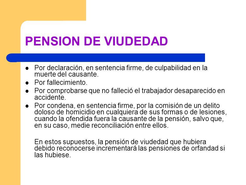 PENSION DE VIUDEDADPor declaración, en sentencia firme, de culpabilidad en la muerte del causante. Por fallecimiento.