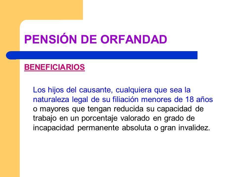 PENSIÓN DE ORFANDAD BENEFICIARIOS