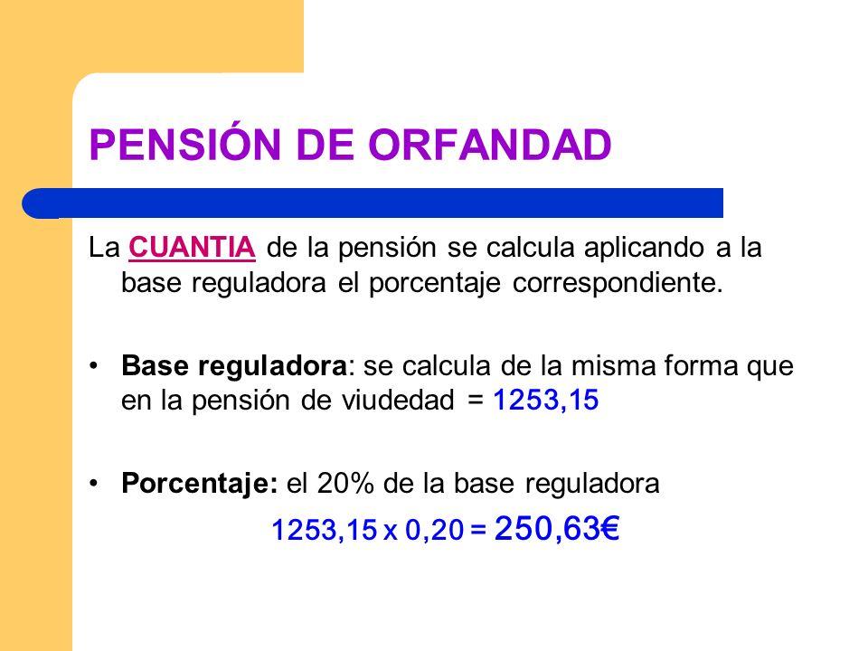 PENSIÓN DE ORFANDADLa CUANTIA de la pensión se calcula aplicando a la base reguladora el porcentaje correspondiente.