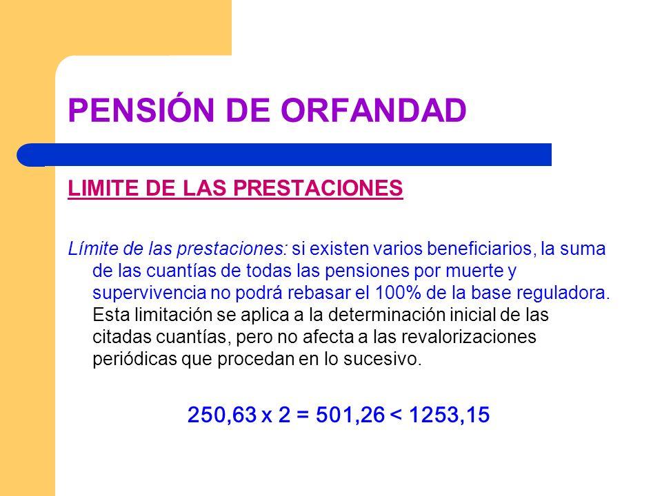 PENSIÓN DE ORFANDAD LIMITE DE LAS PRESTACIONES