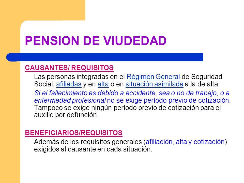 PENSION DE VIUDEDAD CAUSANTES/ REQUISITOS