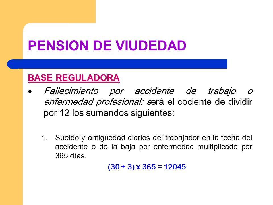 PENSION DE VIUDEDAD BASE REGULADORA