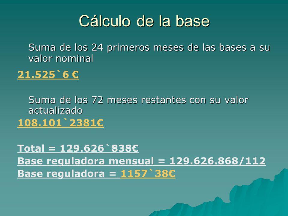 Cálculo de la baseSuma de los 24 primeros meses de las bases a su valor nominal. 21.525`6 € Suma de los 72 meses restantes con su valor actualizado.