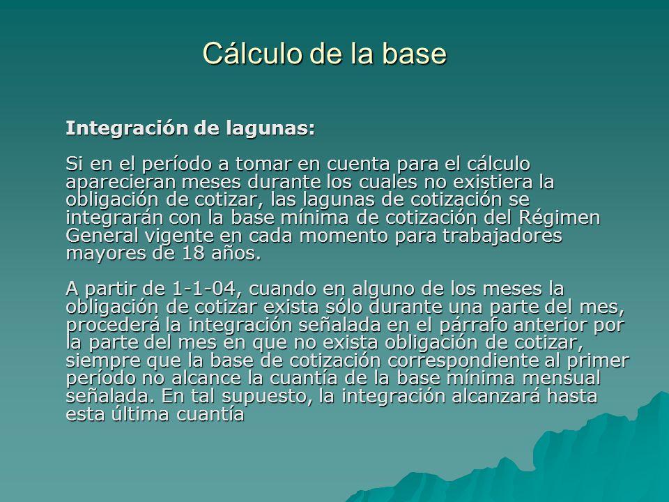 Cálculo de la base